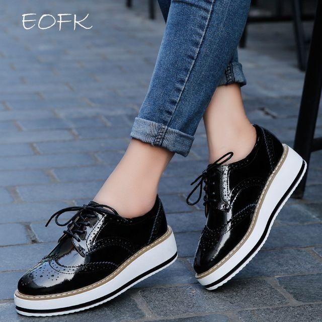 Eofk primavera cuero genuino de las mujeres zapatos de plataforma plana vendimia brogue zapatos de charol mujer femenina derbis calzado