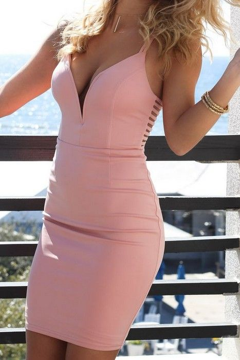 Bodycon Dresses glamhere.com Sultry blush spinal cord body con dress