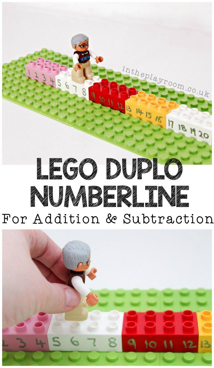 Lego DUPLO number line for addition and subtraction. Simple hands on math