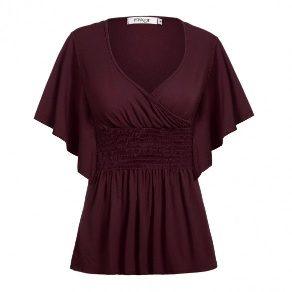 Brand: Meaneor Material: Cotton Blend 5 Colors: Black, Dark Brown, Dark Red, Leopard, Red Collar: V-Neck Sleeve: Short Sleeve Style: Sexy Top Length: Regular Occasion: Casual, Party Garment Care: Hand