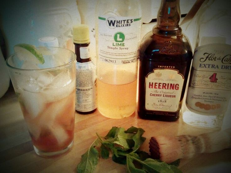 Cherry Limeade Mojito - Flora de Cana 4 Year Extra Dry Rum, Heering Cherry liquer, White's Lime Syrup, Mint, Angostora Bitters, Soda, #whiteselixirs, #whiteselixology