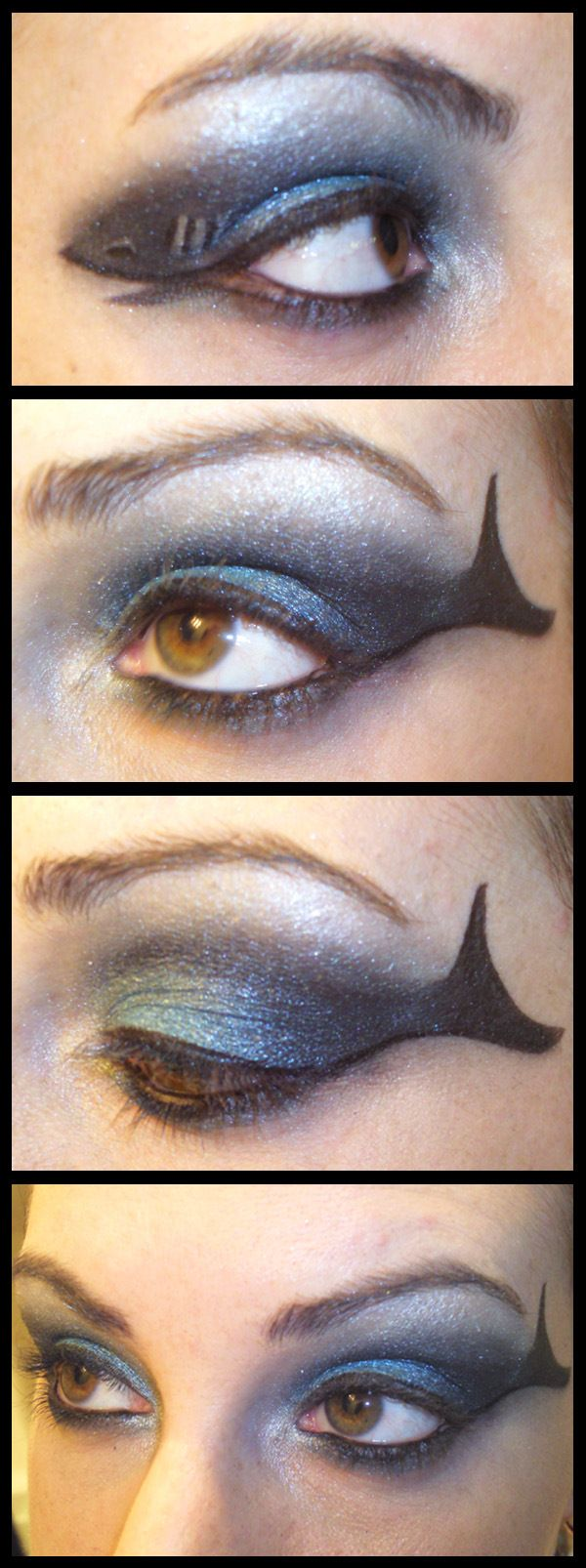 Make-up for Shark Week?  Blue eye shadow with black eye liner tail.