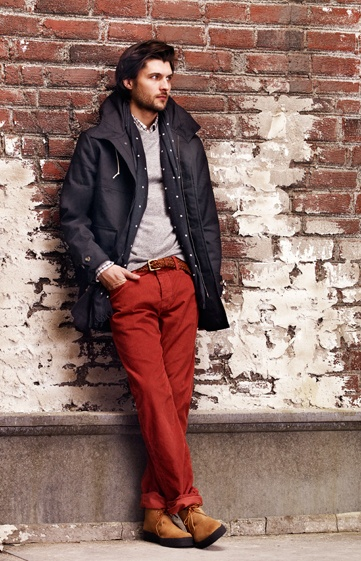 Cotton Parka, Cashmere Waffle Crew Sweater  Edward Shirt, Scott Corduroy, Timothy Dot Scarf  Charlie Woven Belt, Mark McNairy Playboys from Club Monaco: Men Looks, Men Clothing, Men Accessories, Men Style, Club Monaco, Classic Men Fashion, Men'S Style, Men Outfit, Red Pants