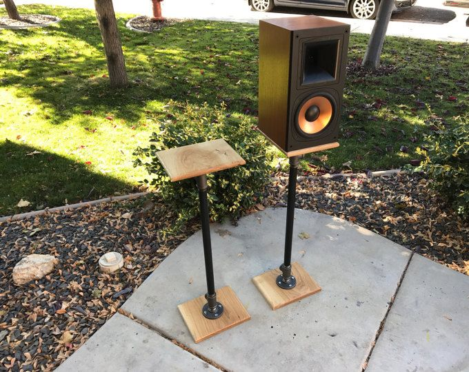 Industrial Pipe Hardwood Bookshelf Speaker Stand Pair