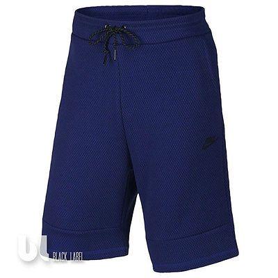 Nike Tech Fleece Printed Herren Sport Shorts Bermuda Hose Fitness Kurzehose Blau