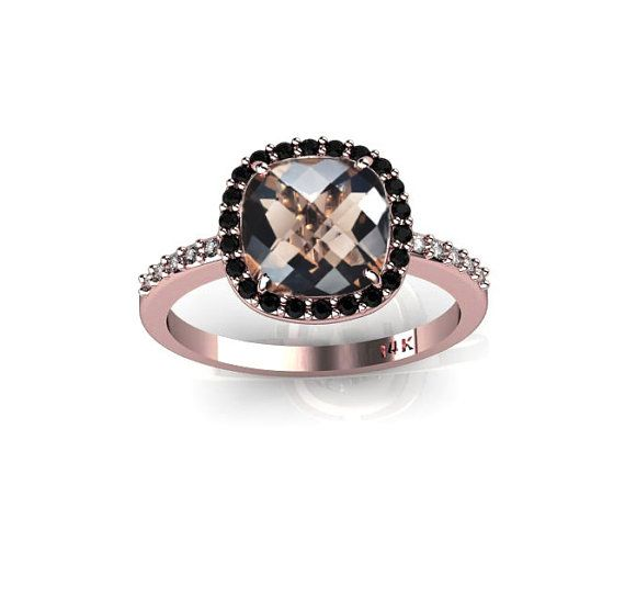New 14K Rose Gold Ring with Smoky Quartz Black by ChicJoaillerie