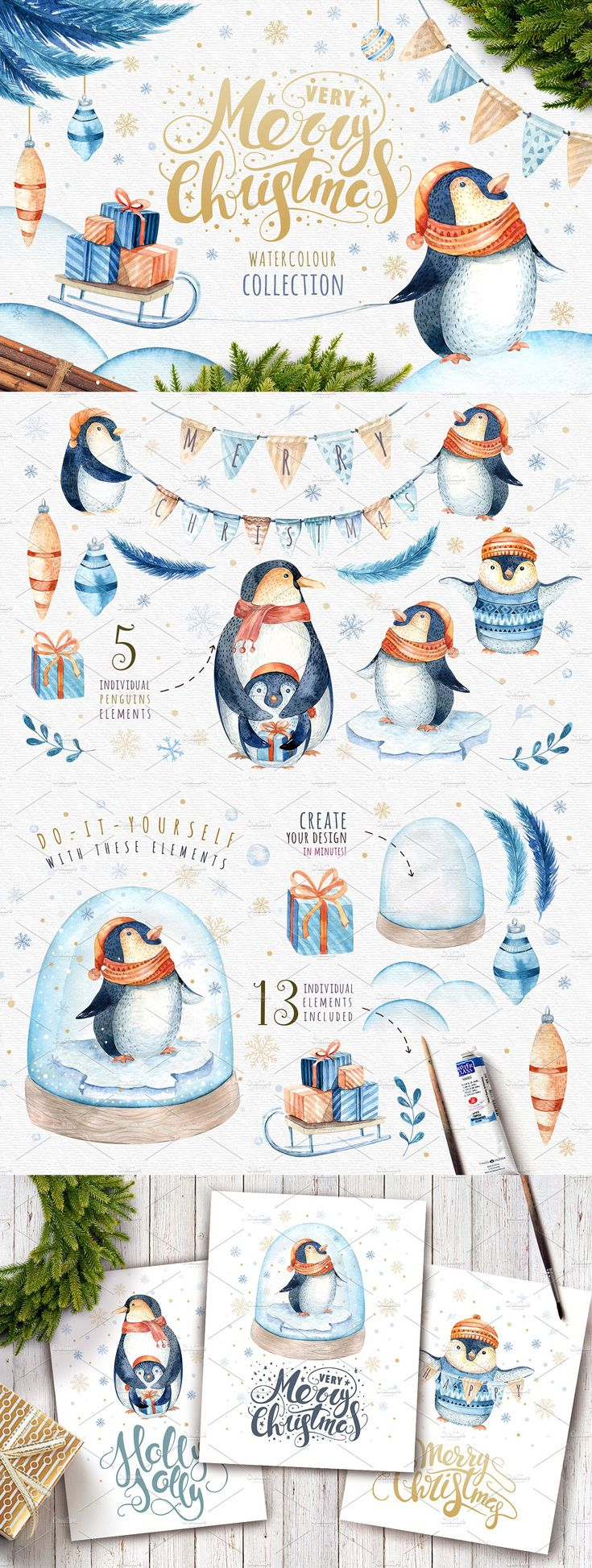 This set of high quality hand painted watercolour penguins and Christmas elements. Perfect graphic for DIY, wedding invitations, greeting cards, quotes, blogs, posters and more.