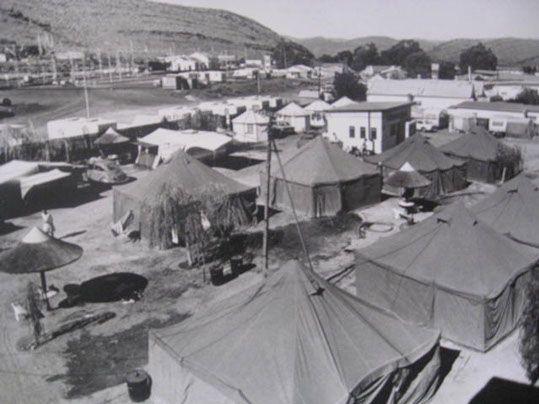 Tent housing at caravan park.