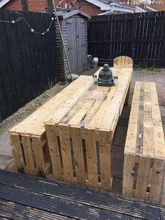 Country Style Table And Benches Made From Pallets