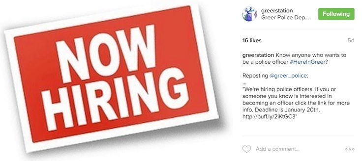 The Greer Police Department is hiring and our Instagram fans like it!  Throw your hat in the ring by following the link.
