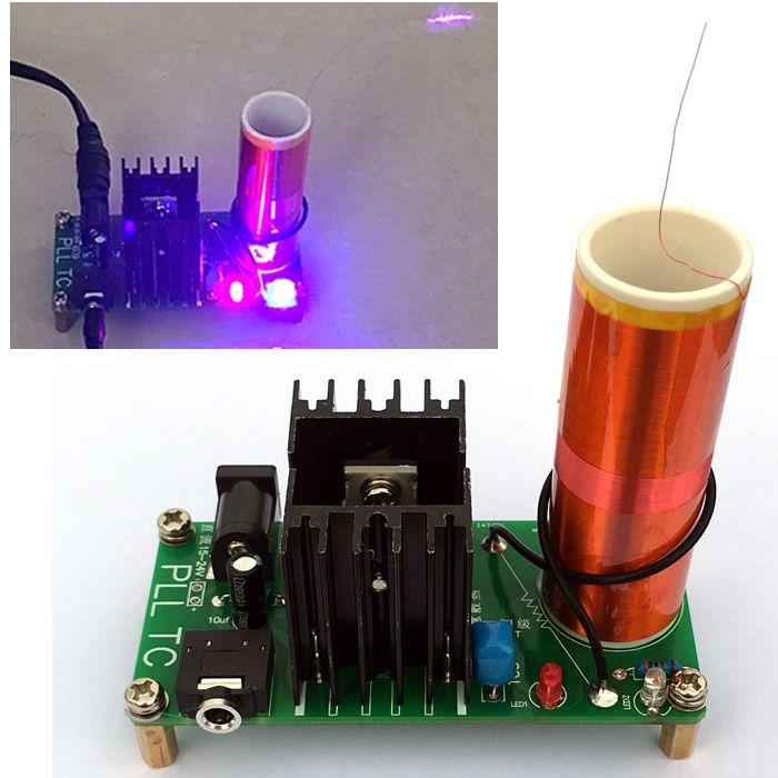 Diy Kits 15 W Mini Musique Tesla Bobine Plasma Haut-Parleur Tesla Sans Fil Transmission DC 15-24 v