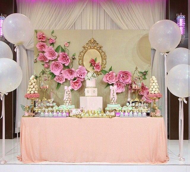 Dessert table with paper flower design candy bar pinterest for Backdrop para mesa de dulces