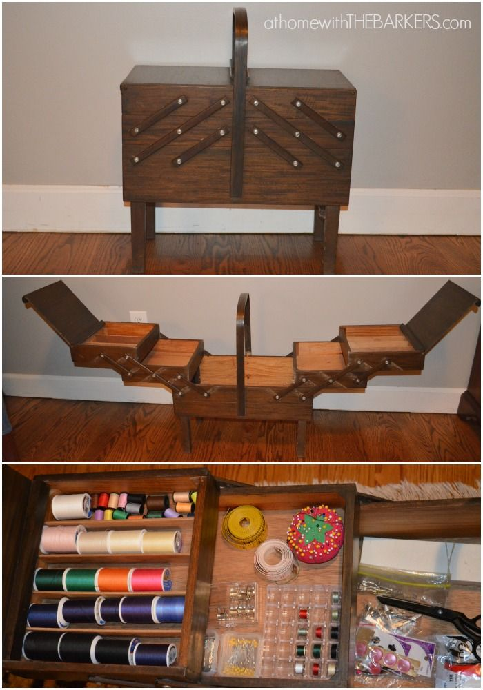 Singer Sewing Box Thrift Store find for Craft Room Makeover
