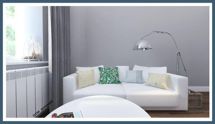 Дизайн-проект гостиной в новостройке г. Балашиха. Цвет стен хоть и серый, он совершенно не смотрится мрачно, дополнив его белой мебелью и небольшим количеством ярких акцентов в виде подушек, интерьер выглядит органично и стильно. #интерьердизайна #интерьер #дизайн #3dmax #vray #interiordesign #interior #design #дизайнинтерьера #дизайнквартиры #дизайнпроект #гостиная # living-room #home #диван #торшер