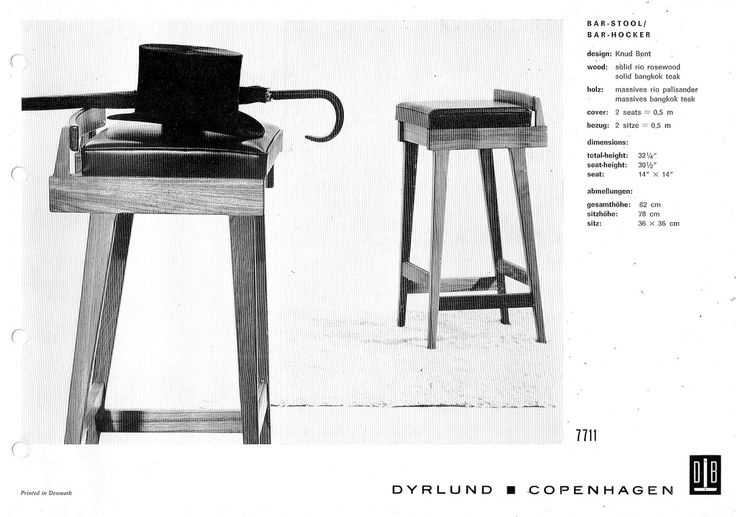 Erik Buch single back barstool was factually designed by Knud Bent for Dyrlund