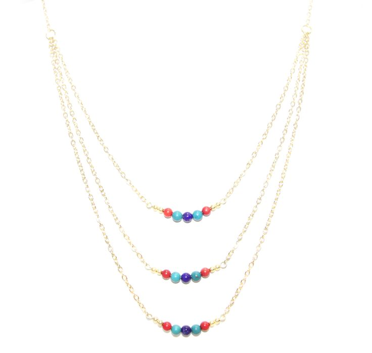 ValentinaNecklace - LapisLazuli Coral & Turquoise - The ultimate statement piece in our debut collection, our Valentina necklace is your instant route to sure-fire sophistication and glamour. Add to an open neckline or cocktail dress, shimmer through your evening and bask in its alluring power. Made using our sparkling 14 carat gold-plated fine chain and accentuated with lapis-lazuli, coral and turquoise elements. Finished with a lobster clasp fastening and a HOLLYGALORE charm. £54.99
