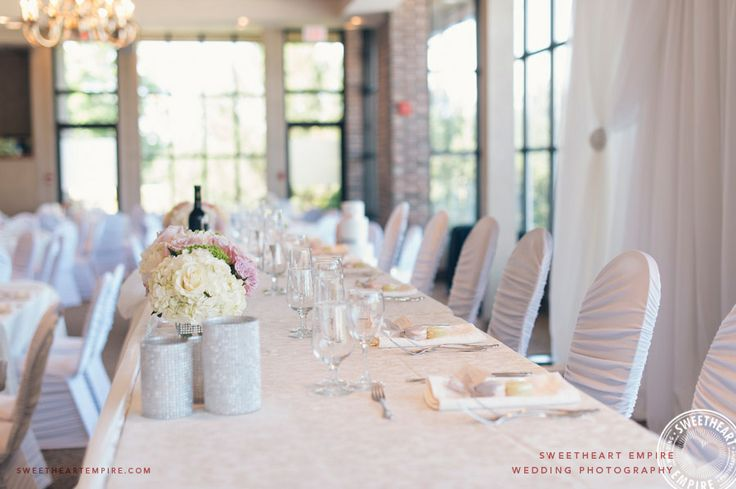 Romantic wedding head table in soft pink and cream, at The Manor by Peter and Paul's > Sweetheart Empire » Toronto Wedding Photographer #SweetheartEmpire