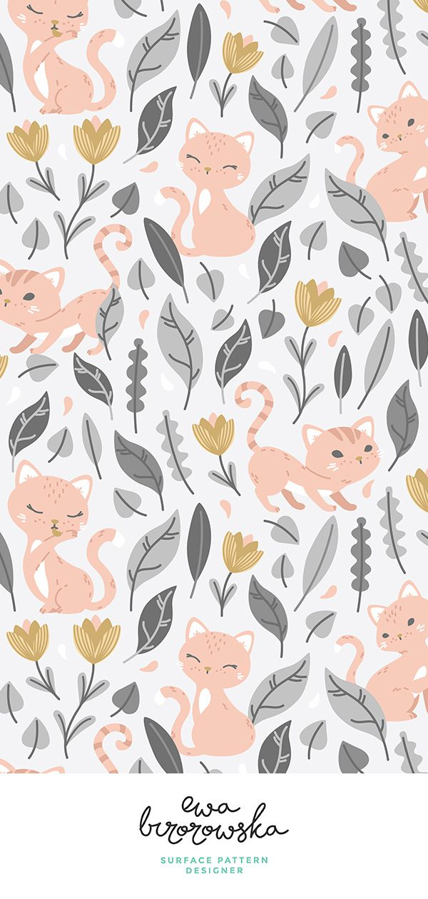 Oh, hello cats -cute vector textile pattern design - light grey, coral and gold.... iPhone X Wallpaper 150518812530814462 8