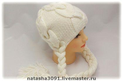 """Шапка """"Косы от D&G"""" - шапка вязаная,шапка,шапка женская,вязаная шапка"""