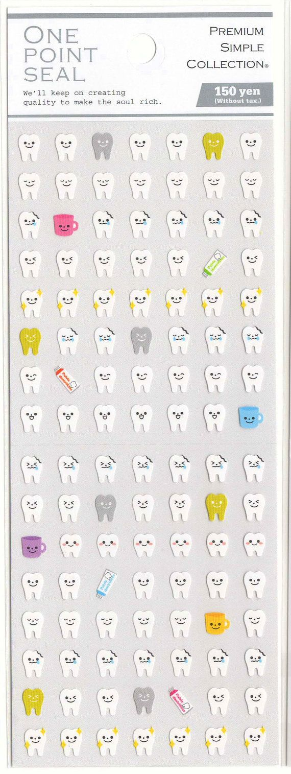 A Japanese Sticker Sheet Assort of Tooth Mini Stickers. Other mini point stickers are available here.