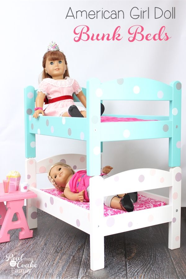 OMG! These are the cutest American Girl Doll Bunk Beds! They are a diy using IKEA doll beds which makes them inexpensive and easy to customize. So cute!