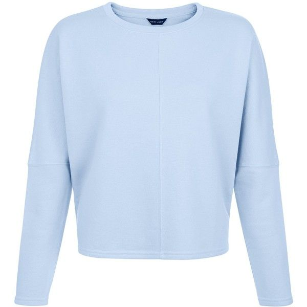 Pale Blue Batwing Sleeve Cropped Sweater (212.355 IDR) ❤ liked on Polyvore featuring tops, sweaters, bat sleeve sweater, blue top, pale blue sweater, blue crop top and blue sweater
