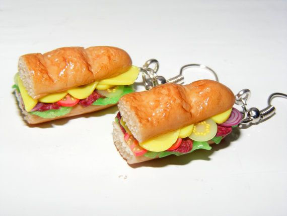 Polymer Clay Sub Earrings ,Sandwich Earrings, Polymer Clay Jewelry Food Charm, Kawaii Polymer Clay Charm, Kawaii Charm Earrings via Etsy