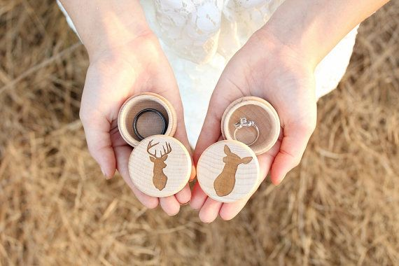 Buck and Doe Ring Box Set Rustic Wood Ring by DownInTheBoondocks