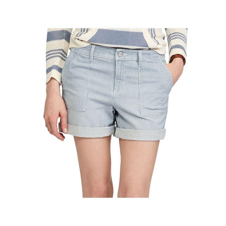 Women's Chaps Striped Jean Shorts, Size: 12, Blue