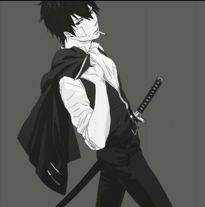 """Gintama ~~ This is Hijikata. He smokes, he's a mayo maniac, and he's being misidentified on other boards as Rin from """"Blue Exorcist"""". FYI."""