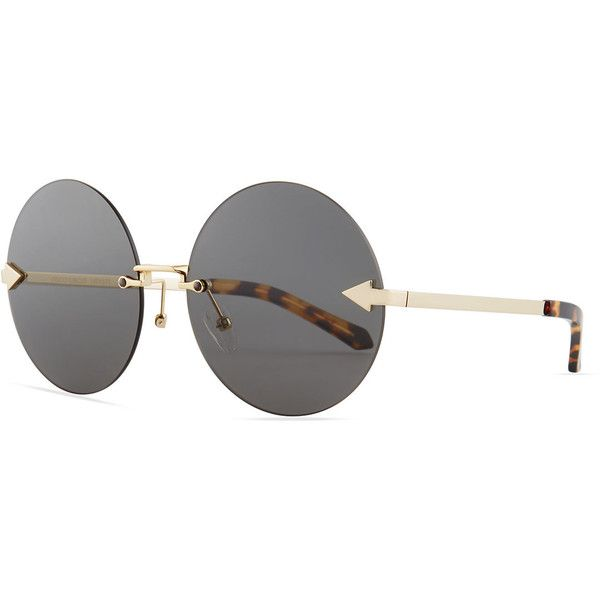 Karen Walker Disco Circus Rimless Round Sunglasses (720 BRL) ❤ liked on Polyvore featuring accessories, eyewear, sunglasses, brown pattern, round lens sunglasses, round rimless glasses, round sunglasses, round metal frame glasses and metal sunglasses