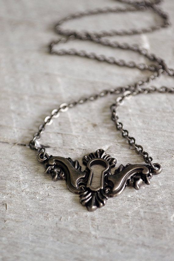 Antique Silver Keyhole Necklace by Keytiques on Etsy, $18.00, Neat shape for a keyhole tattoo!!!