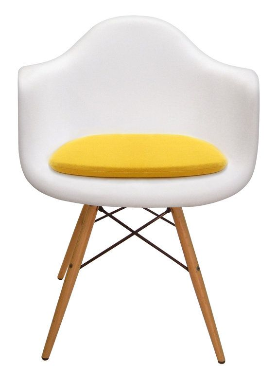 Custom-made yellow microfiber cushion for Eames molded plastic armchair. Many colors and fabrics available!