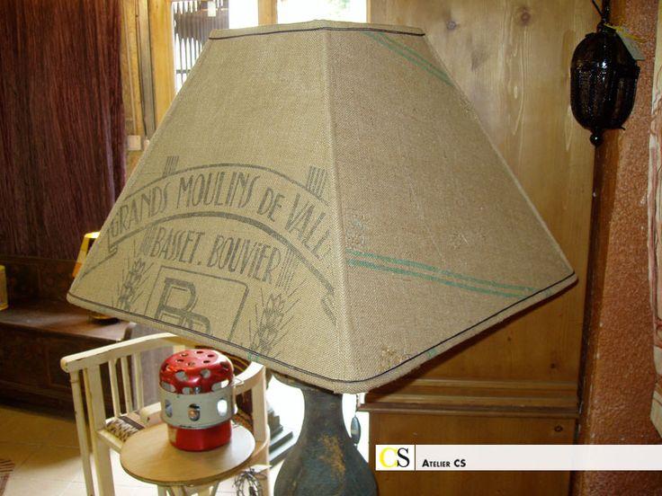 toile de jute couture | abat jour (couture) carré en toile de jute (sac de farine ...