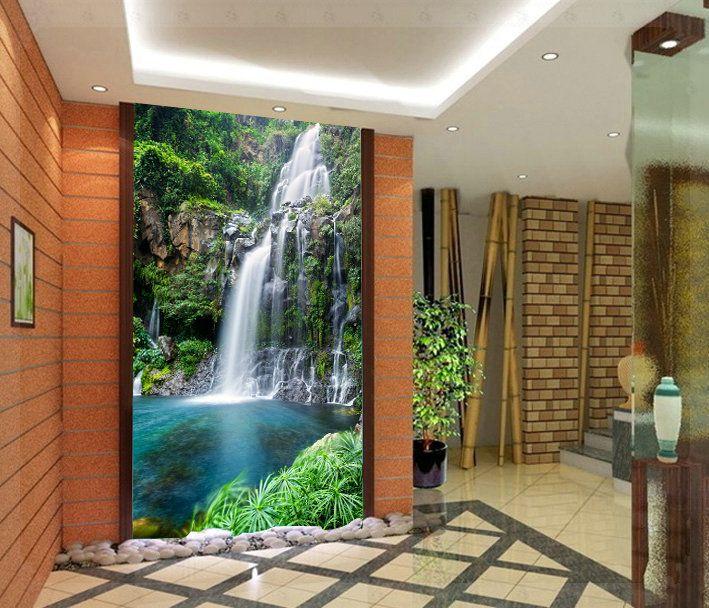 Cheap cascada paisaje mural papel tapiz de fondo pared - Papel pared entrada ...