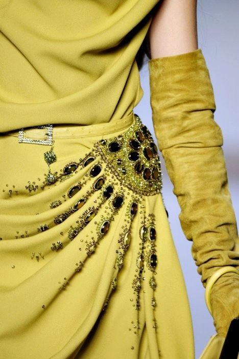 Christian Dior.Chartruse colored gown with jewels,rhinestone/crystal belt details,and suede full length gloves.Gorg!!!