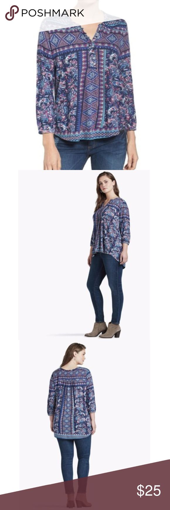 Lucky Brand Diamond Aztec Blouse XS Top is new with tags. navy and pink printed. Measurements taken with item lying flat in inches. Chest: 16 Waist: 20 Sleeve: 19 Length: 24 Material: 66% cotton 28% viscose 6% linen Style Number: 7W62384   M28-T218 Lucky Brand Tops Blouses