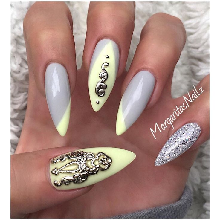 Grey and pastel yellow nail art | MargaritasNailz ...
