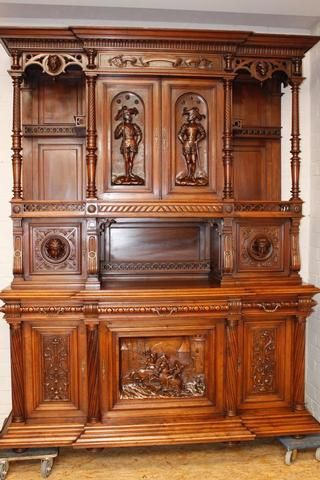 monumental walnut Henri II dinning set 19th century - Dining Rooms - Houtroos