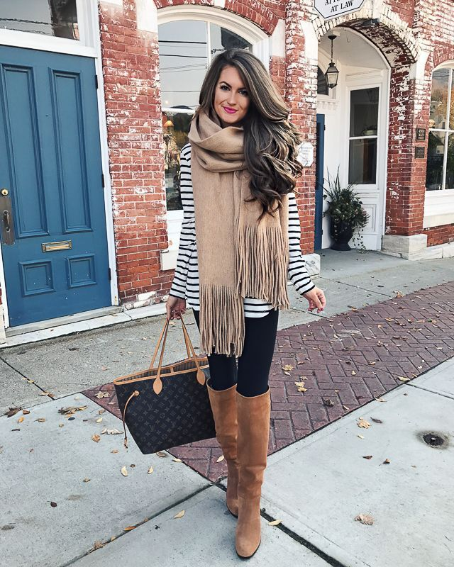 Fall outfit ideas and style - camel scarf and stripes