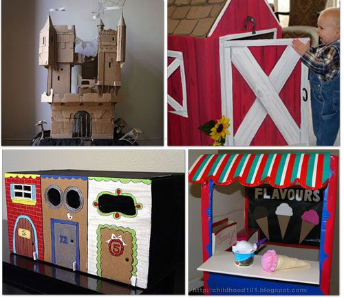 32 Things to make using a cardboard box! It includes a cute barn! Quote: I've made several fun toys and activities for kids using cardboard but nothing like these amazing projects. You'll be blown away by these 32 things to make using a cardboard box. They are DIY activities, games, and imagination building props to encourage your child to play for hours. http://www.tipjunkie.com/32-things-to-make-using-a-cardboard-box-diy/