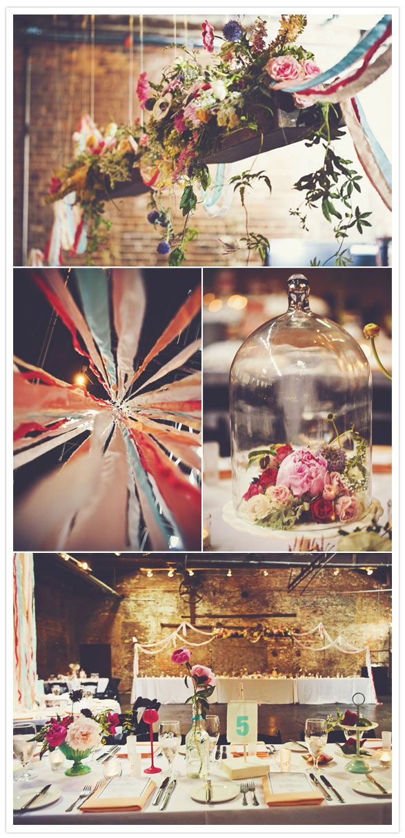 flowers in hanging wooden flower boxes or under glass domes. yes and yes. #diy, #decor, #flowers