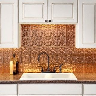 Fasade Traditional Style 1 Polished Copper Backsplash 18 Inch X 24 Inch Panel Traditional 1 Polished Copper Backsplash Panel Gold