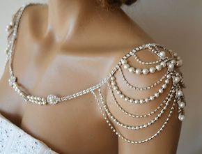 Wedding Shoulder Necklace, Pearl Shoulder Jewelry For Bridal, Crystal Wedding Dress Shoulder Necklace, Body Accessory For Wedding Dress