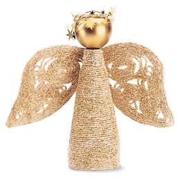Angel tree topper craft using plastic bottle, string, and glitter