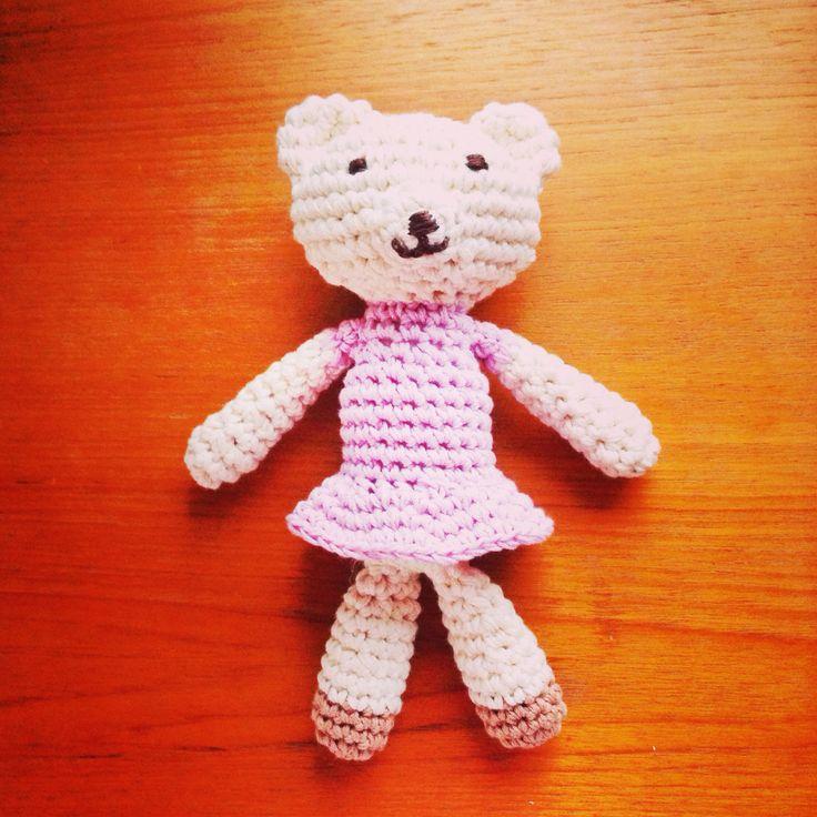 "DIY: 100% organic cotton, crocheted stuffed animal ""bear"" for new born baby"