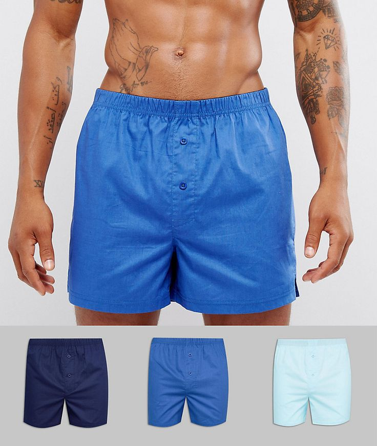ASOS Woven Boxers In Blues 3 Pack SAVE - Multi
