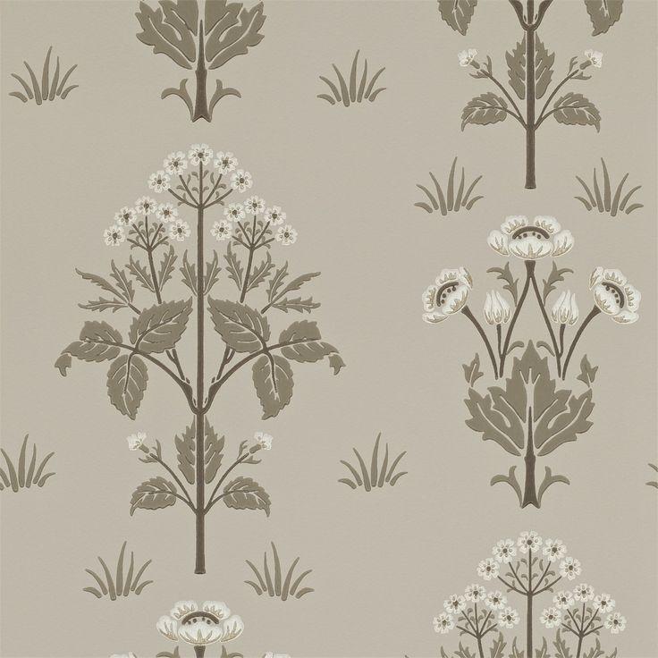 The Original Morris & Co - Meadow Sweet (DM6P210351) Bullrush/Taupe | Morris Archive Wallpapers