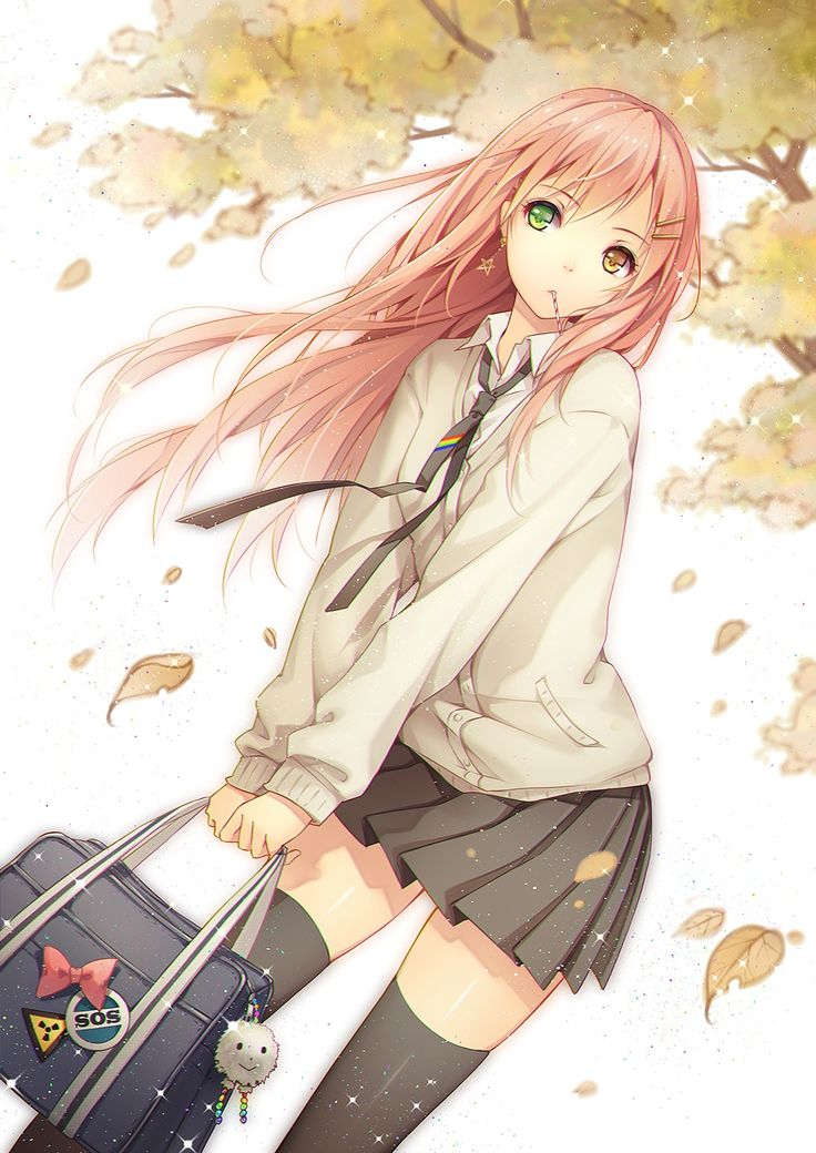 ✮ ANIME ART ✮ school uniform. . .pleated skirt. . .tie. . .long hair. . .stockings. . .school bag. . .tree. . .autumn leaves. . .in the breeze. . .sparkling. . .cute. . .kawaii