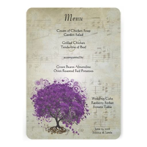 ShoppingPurple Heart Leaf Tree Wedding Menu Invitationstoday price drop and special promotion. Get The best buy